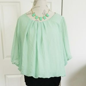 Mint Flowy Top